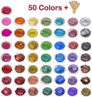 Mica Powder 50 Color Set Epoxy Resin Pigment for DIY Soap Making Bath Bomb Colorant Paint Nail Art Eyeshadow Makeup Dye -Skin Safe