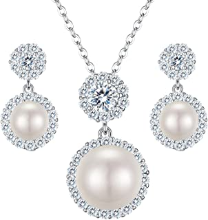 Clearine Women's 925 Sterling Silver CZ Freshwater Cultured Pearl Necklace Earrings Set