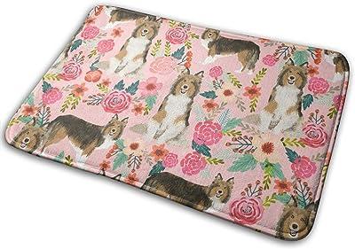 """Sheltie Floral Shetland Sheepdogs Sheltie Dog Design Best Vintage Florals_16996 Doormat Entrance Mat Floor Mat Rug Indoor/Outdoor/Front Door/Bathroom Mats Rubber Non Slip 23.6"""" X 15.8"""""""