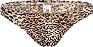 Men's Leopard Bikini Underwear Briefs Low Waist Bulge Pouch Open-Back
