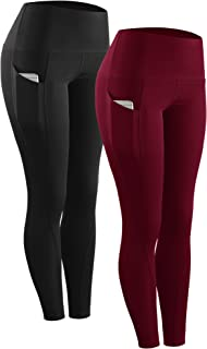 Neleus High Waist Running Workout Leggings for Yoga with Pockets - red - X-Small (fits Like US 0-2)