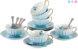 Jusalpha Porcelain Tea Cup and Saucer Coffee Cup Set with Saucer and Spoon FD-TCS04 (Set of 6, Blue)