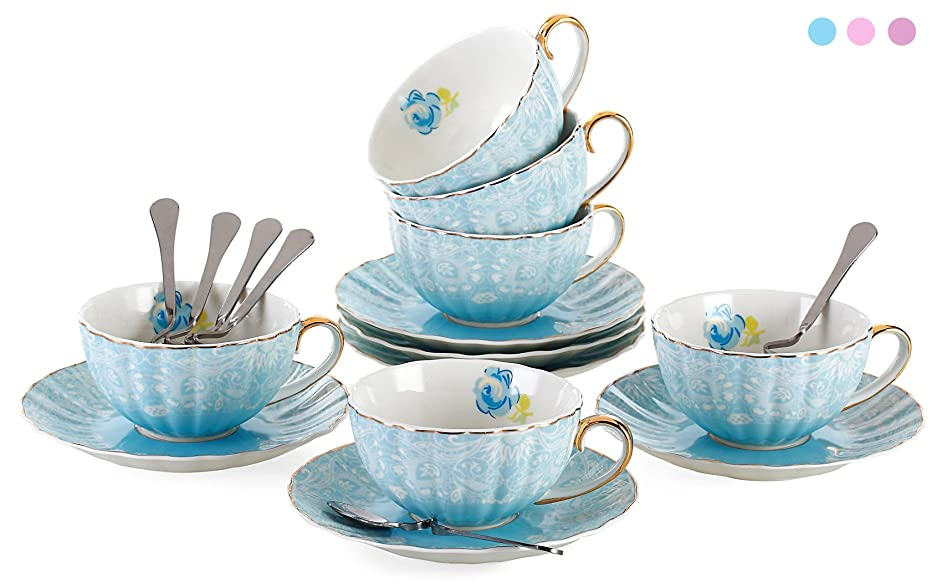 Jusalpha Porcelain Tea Cup and Saucer Coffee Cup Set with Saucer and Spoon FD-TCS04 (Set of 6, Blue) k9416565099304