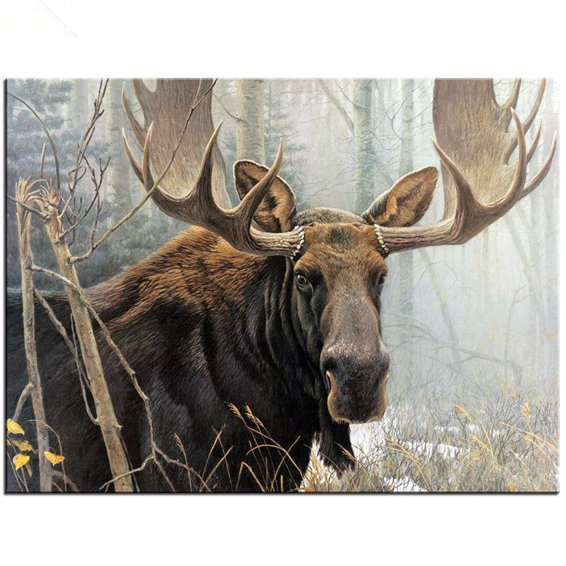 Yumeart Full Diamond Embroidery Northwoods Moose Cross Stitch Sets Unfinished Decorative Diamond Painting Deer Animals