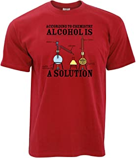 Alcohol is a Solution Printed Design Slogan Art Geeky Nerd Chemisty Science Designer Novelty Print Mens T-Shirt Cool Funny...