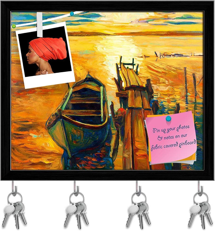 Artzfolio Artwork of Boat & Jetty D4 Key Holder Hooks   Notice Pin Board   Black Frame 19.1 X 16Inch