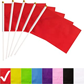 BCLin Red Stick Flags,50 Pack Hand Held Small Mini Solid Flag On Stick,5x8 Inch Outdoor Decoration,Party Decorations,Supplies for Parades, Festival Events Celebration (Red)