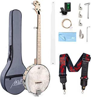 5 String Banjo, Adjustable Full Size Maple Banjo Open Back Remo Head with 2 Tuning Wrench 4 Picks Strings Tuner Strap Rule...
