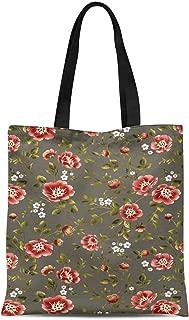 S4Sassy Blue Leaves & Camellia Kanjiro Floral Printed Women Large Tote Bag Shopping Travel Bag Shoulder Handbag 16x12 Inches