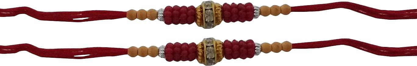 Set of Two Rakhi, Stone & Moti, Thread. Rakhi, Raksha Bandhan Gift for your Brother Vary Color and Multi Design