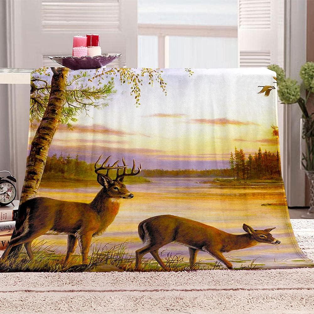 Throw Blankets Sunset elk Regular store Adult Fleece Ki for Al sold out.