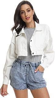 Women's Premium Denim Jacket Long Sleeve Washed Crop Jean Coats