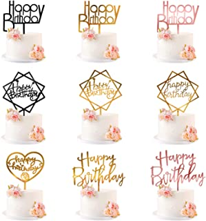 Glittery Happy Birthday Cake Topper, Acrylic Cake Decorations Premium Double-sided Flash, Set of 9 - Party Supplies (Gold,...