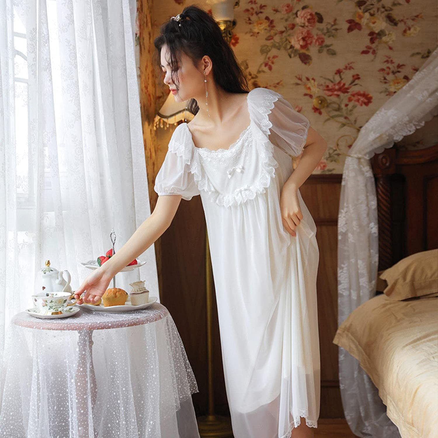 STJDM New Shipping Free Shipping Nightgown White Lace Night Dress Outlet sale feature P Vintage Women Nightwear