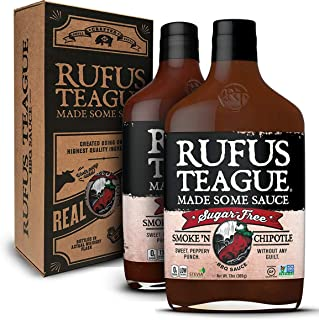 Rufus Teague: Sugar-Free BBQ Sauce Gift Set - Premium BBQ Sauce- Natural Ingredients - Award Winning Flavors - Thick & Rich Sauce (Smoke N' Chipotle)-2pk