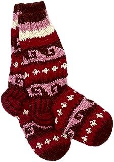 Calcetines de invierno de punto de lana Annapurna, tejidos a mano, color rojo y rosa