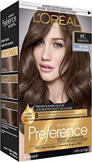 L'Oreal Paris Superior Preference Fade-Defying + Shine Permanent Hair Color, 6C Cool Light Brown, Pack of 1, Hair Dye