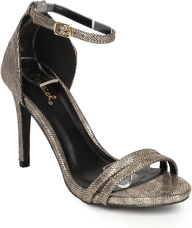 Qupid CF58 Women Metallic Lizard Leatherette Open Toe Ankle Strap Stiletto Sandal - Champagne