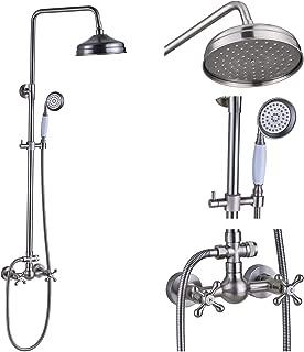 Rozin Bathroom Dual Knobs Mixing Shower Faucet Set 8-inch Top Rainfall Showerhead + Handheld Spray Brushed Nickel