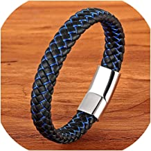 Kabby New Men Jewelry Punk Black Blue Braided Leather Bracelet for Men Stainless Steel Magnetic Clasp Fashion Bangles Gifts 6 Colors