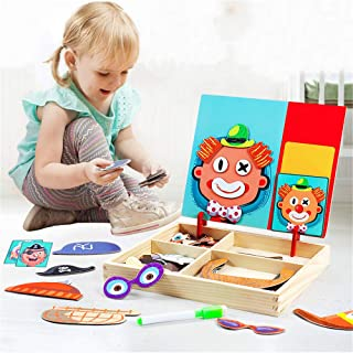 Wooden Magnetic Jigsaw Puzzles Toy, Crazy Face Dress Up Game for Imagination Play,Educational Puzzle Games, Double Sided D...