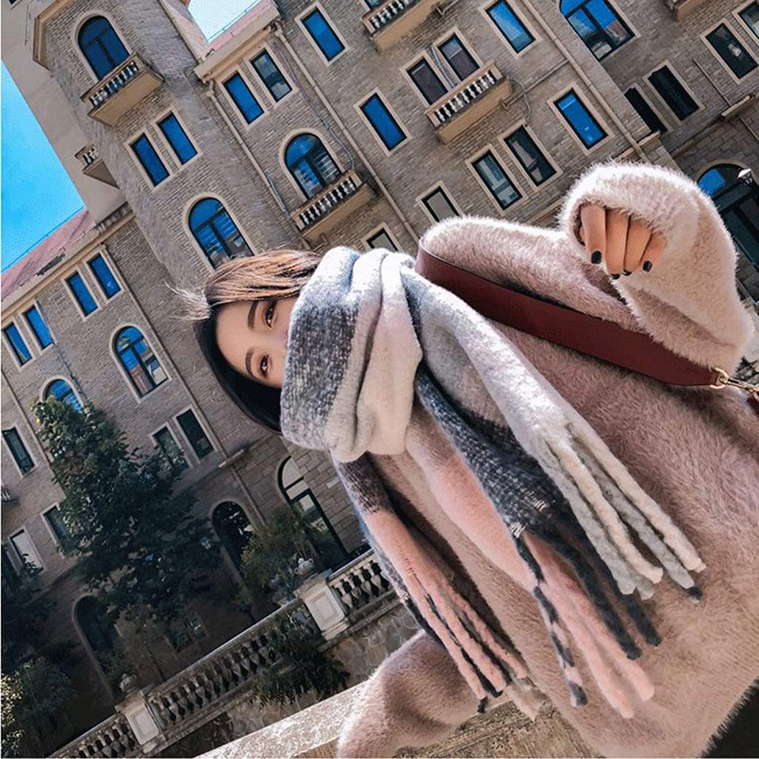 Ms. Scarf Autumn and Winter Students Small Fresh Imitation Cashmere Warm Thickening Wild Tassel Collar Spring and Autumn (color   A)