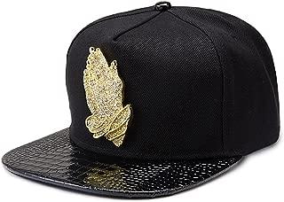 MCSAYS Fashion Hip Hop Style Crystal CZ Iced Out Praying Hnads Jesus Pendant Adjustable Snapback Cotton Baseball Cap/Hats Sports Hat