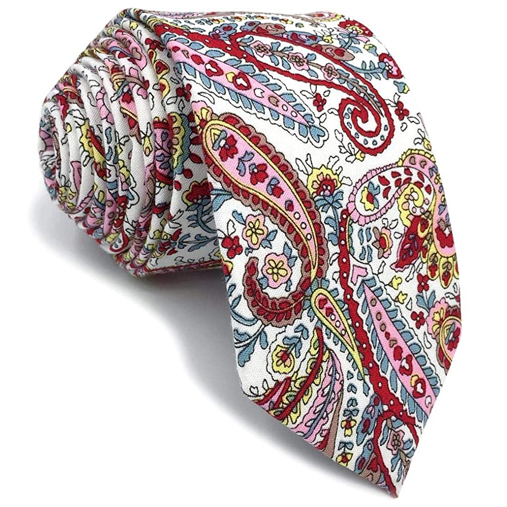 SHLAX&WING Cotton Silk Ties For Men Skinny Necktie Printed Floral