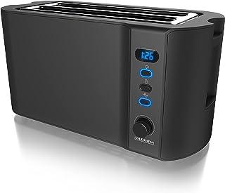 Arendo - Grille pain 2 larges fentes 4 tranches écran digital - Grille-pain automatique 3en1 - 1500W - 6 niveaux réglables...
