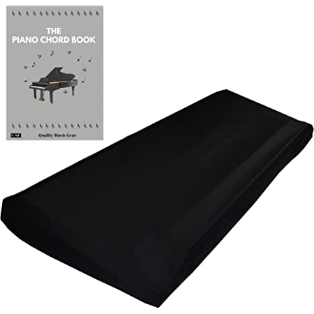 "QMG Stretchable Keyboard Dust Cover for 88 Key-keyboard: Best for all Digital Pianos & Consoles – Adjustable Elastic Cord; Machine Washable – 49""×17""×6""."