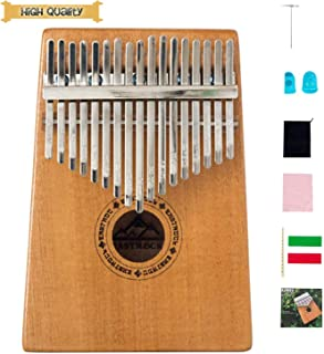 EastRock Kalimba 17 Keys Thumb Piano, Easy to Learn Portable Musical Instrument Gifts for Kids Adult Beginners Kalimba with Tuning Hammer and Study Instruction(Mahogany)