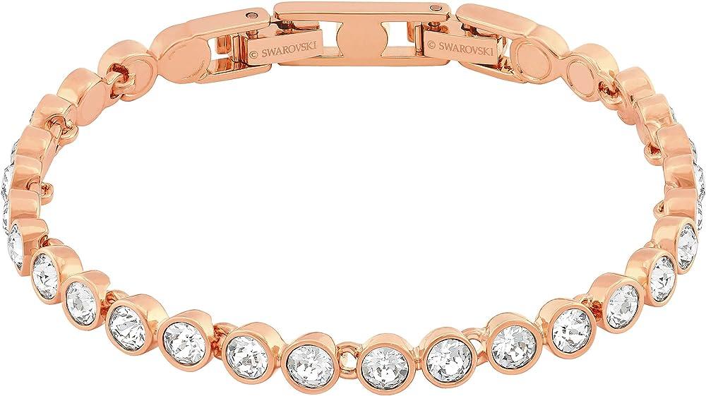 Swarovski braccialetto per donna,in argento placcato oro rosa Tennis