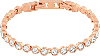 Swarovski Women's White Rose-gold tone plated Tennis Bracelet 5039938