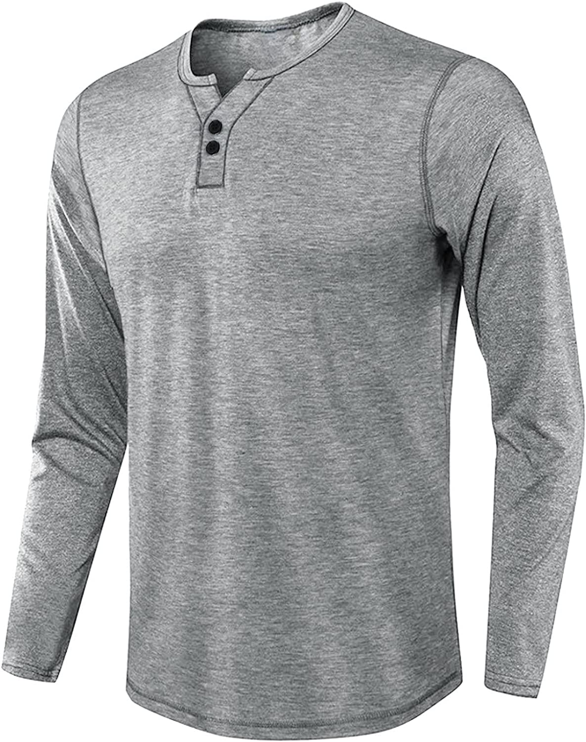 FUNEY Mens Fashion Casual Front Placket Basic Long Sleeve Beefy Henley T-Shirts Lightweight Breathable Shirts Fall Clothes