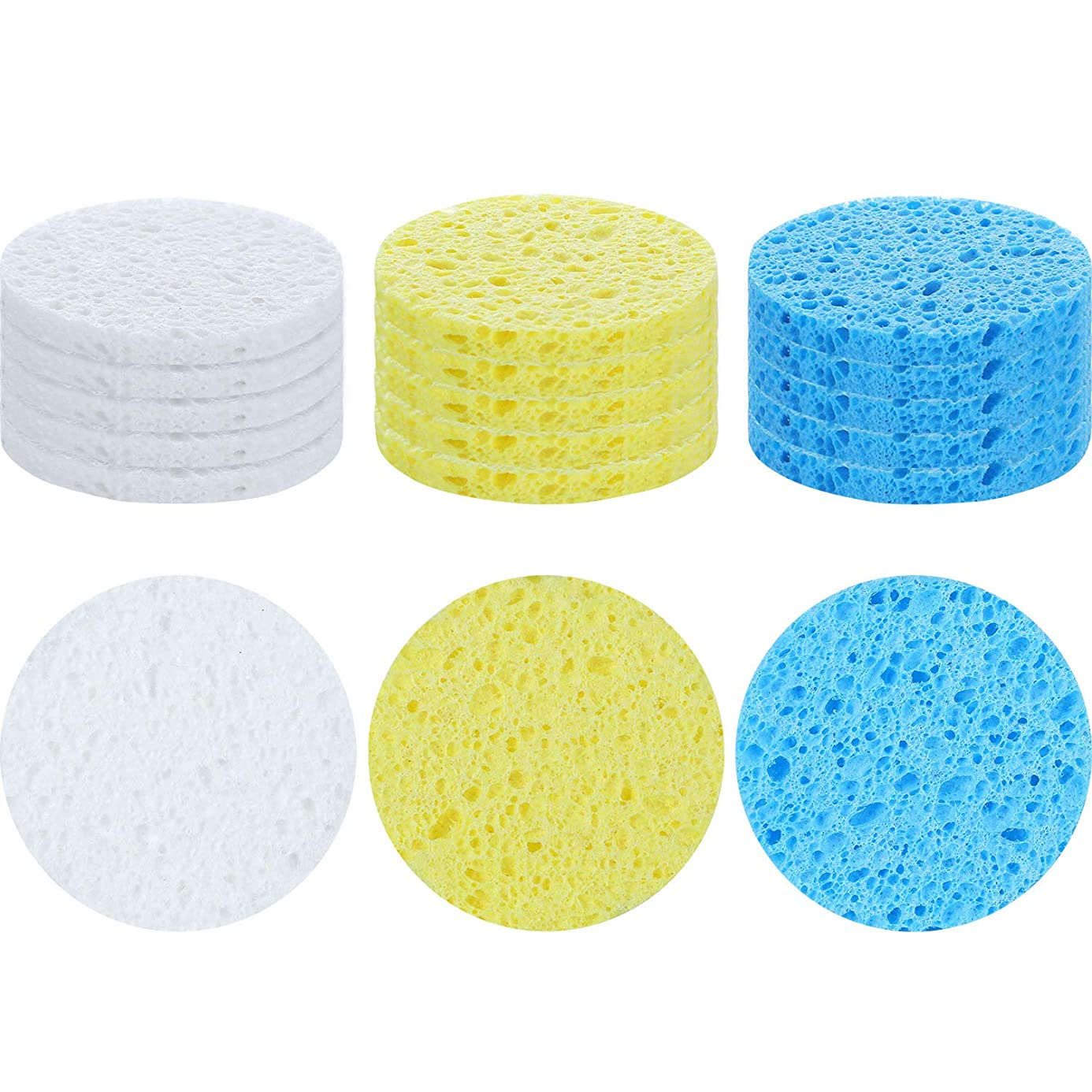 15 Pieces Round Painting Synthetic Sponge Pottery Sponge Shaping Sponge Tools for Pottery, Clay, Painting and Crafts, 3 Colors rfc0691808