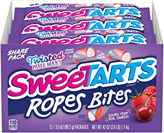 SweeTARTS Rope Bites Twisted Mixed Berry, 3.5 Ounce, Pack of 12