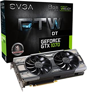 EVGA GeForce GTX 1070 FTW DT GAMING ACX 3.0, 8GB GDDR5, RGB LED, 10CM FAN, 10 Power Phases, Double BIOS, DX12 OSD Support ...