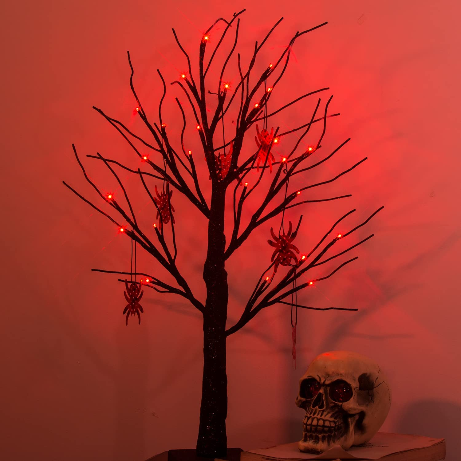 PEIDUO 2FT Halloween Black Tree Battery Powered with 24 Red Lights and 8 Spider Ornaments Light Up Bonsai Tree for Halloween Indoor Tabletop Decoration