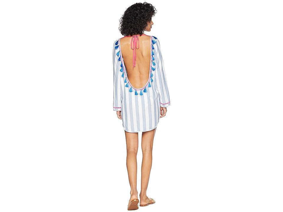 Plush Soleil Chambray Open Back Dress (Blue/White Stripe) Women's Dress