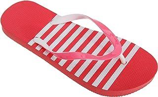 FLOSO Womens/Ladies Striped Toe Post Flip Flops