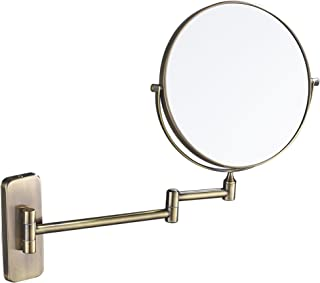 GURUN 8-Inch Double-Sided Wall Mount Makeup Mirror Antique Bronze with 7X Magnification, Brushed Brass M1406K(8in,7X)