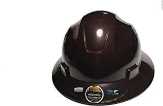 HDPE-Tan-Brown -Safety Full Brim Helmet, Nylon Ratchet Suspension, 4-Point, {Top Impact} Safety Hard Hat Cool Air Flow Vent System