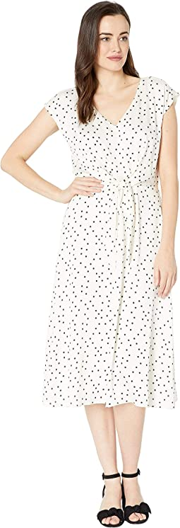 Extend Shoulder Crisp Polka Dot Tie Front Dress