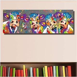 XIAOXINYUAN Coloré Quatre Vaches Animaux Peinture À l'huile De Graffiti Impressions sur Toile Wall Art Photo Chambre Salon...
