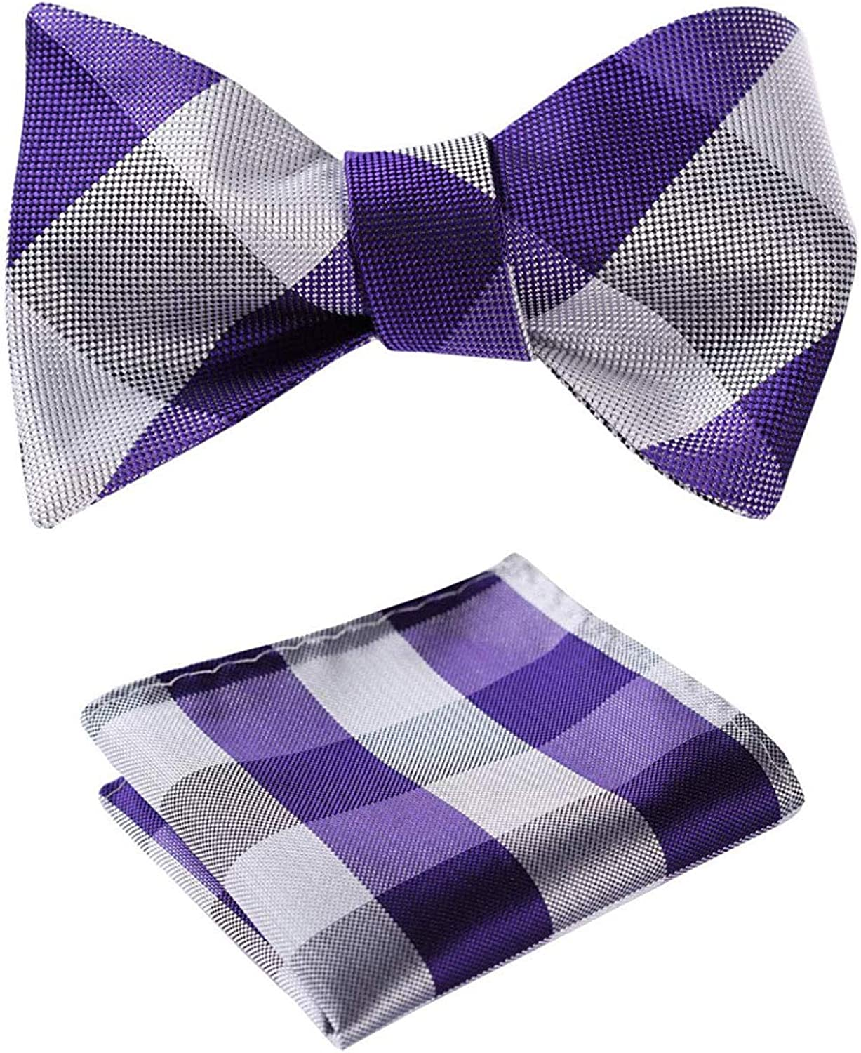 Men's Check Bowtie Jacquard Woven Self Bow Tie and Pocket Square Set
