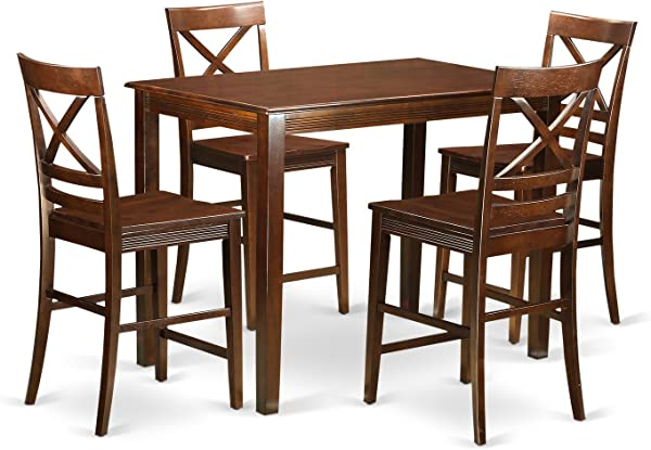 East West Furniture YAQU5 MAH W 5 Piece Small Kitchen Table And 4 Counter Height Chairs Set