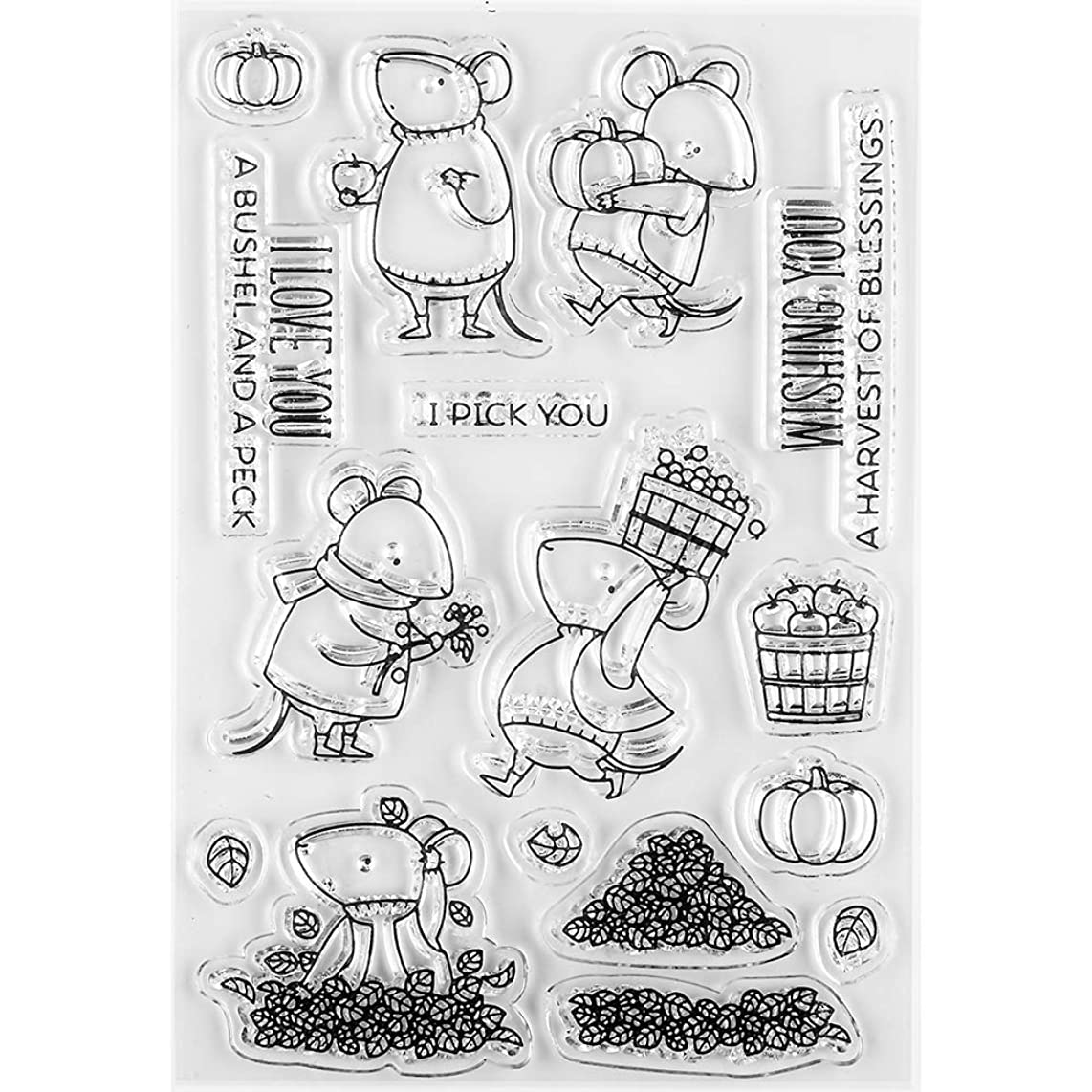 MaGuo Autumn Garden Clear Stamps Mouse in Good Harvest for Paper Craft Decoration and DIY Scrapbooking