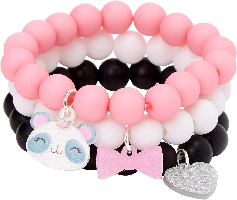 Topics Wholesale on TV Claire's Club Panda Matte Beaded Stretch Black Bracelets White