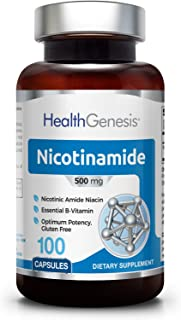 B3 Nicotinamide 500 mg 100 Capsules - Natural Flush-Free Vitamin Formula | Gluten-Free Nicotinic Amide Niac...