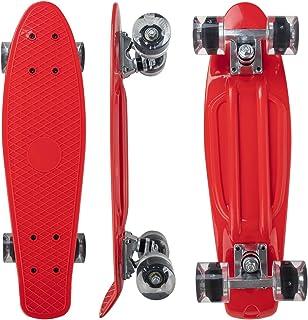 Nattork Skateboards Complete 22 Inch Mini Cruiser Retro Skateboard with Colorful Light Up Wheels for Kids Girls Boys Begin...